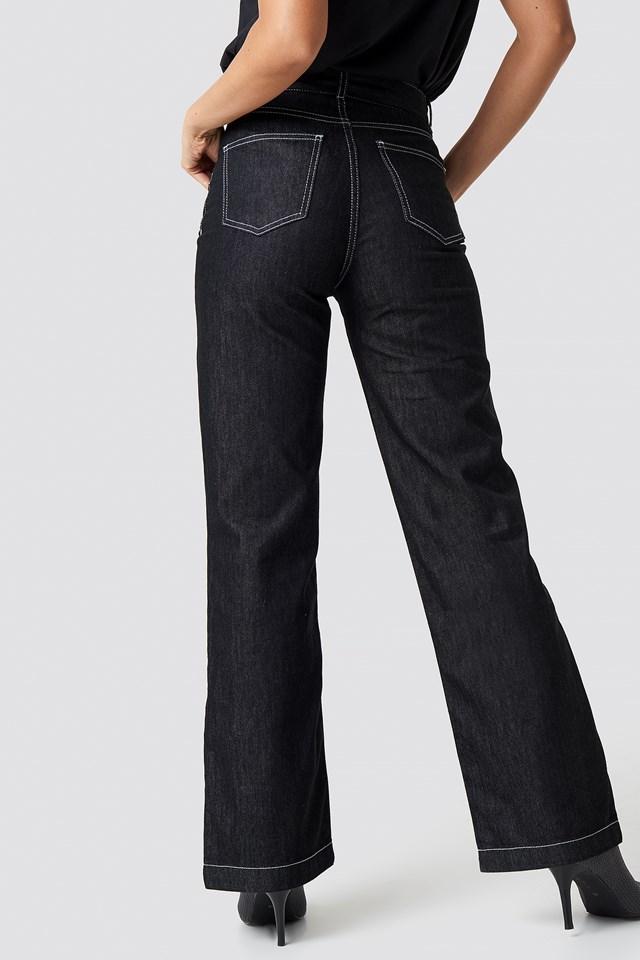 Belted Flared Denim Pants Black