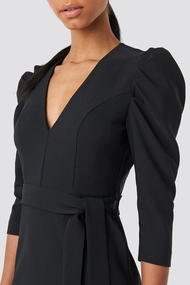 Belted Puffy Sleeve Dress Black