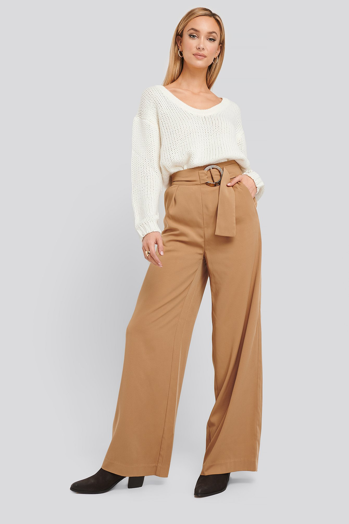 na-kd classic -  Belted Wide Leg Pants - Beige