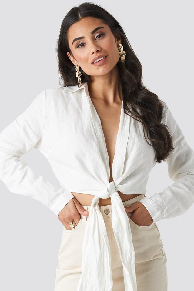 Linen Cropped Shirt White