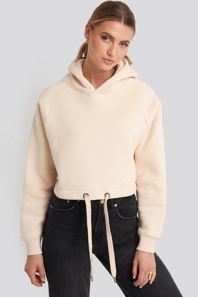 Crop Hoodie Sweatshirt Cream