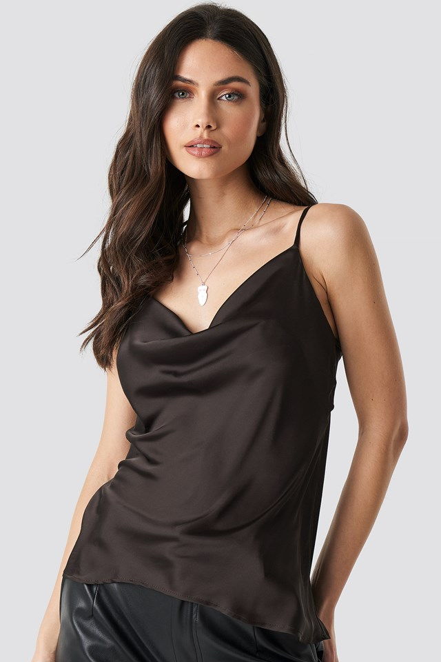 Flowing Strappy Top Brown