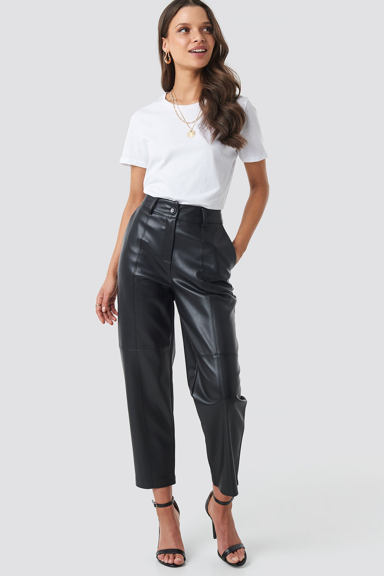 beyyoglu -  High Waisted Straight Trousers - Black