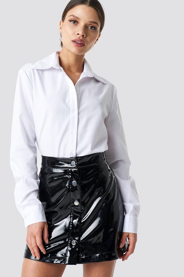 Japanned Leather Skirt Black