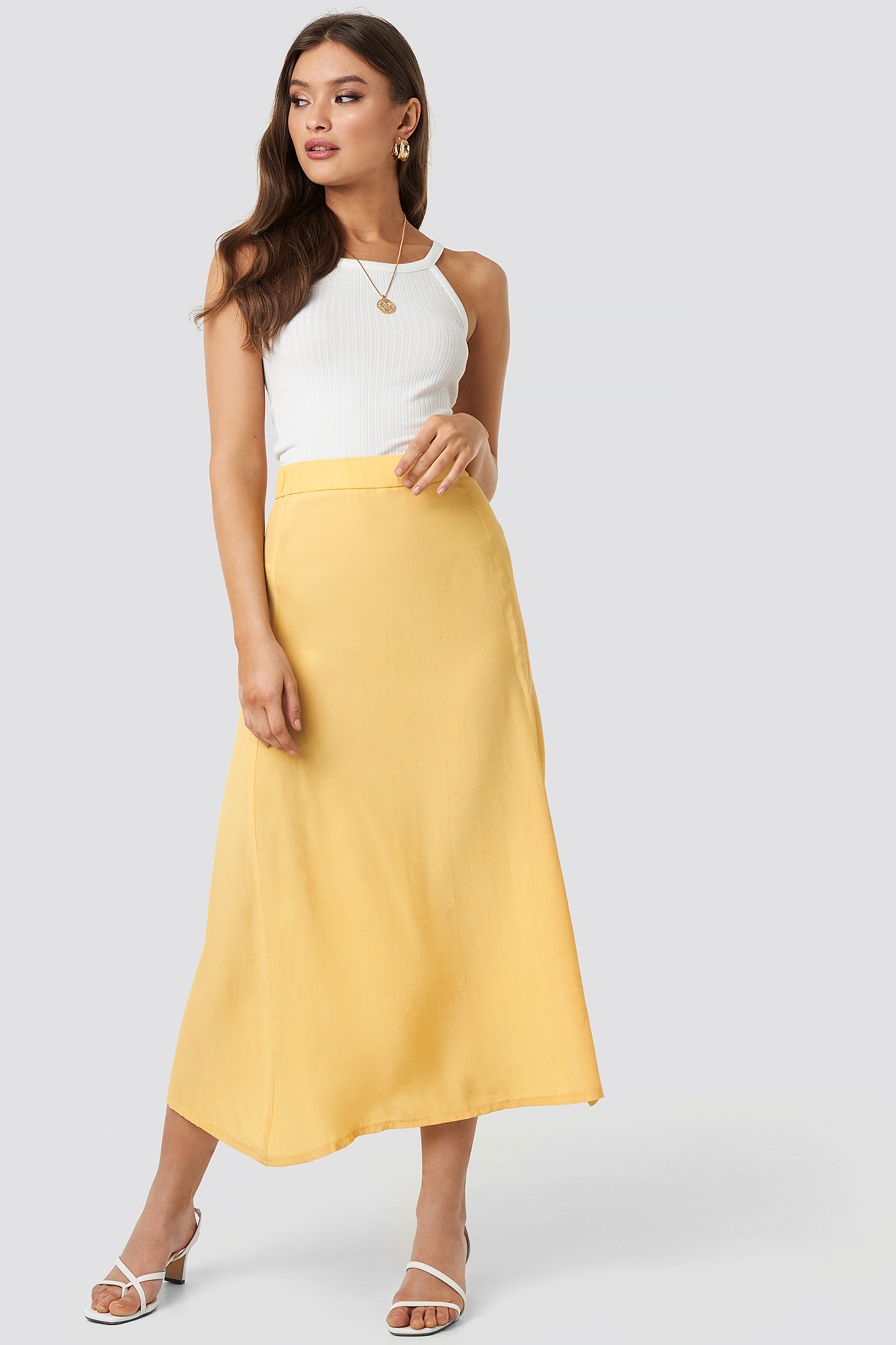 Yellow One Slit Skirt