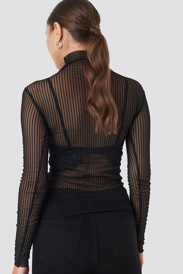 Patterned Tulle Top Black