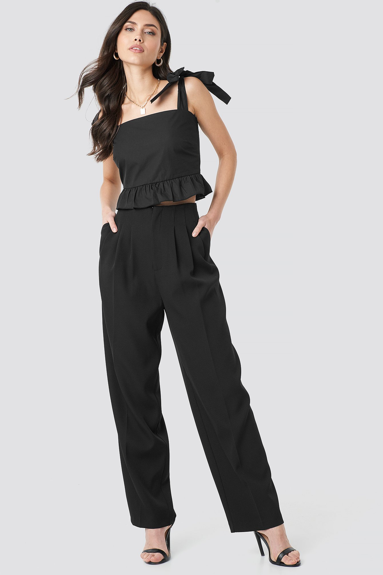 beyyoglu -  Pleated Palazzo Pants - Black