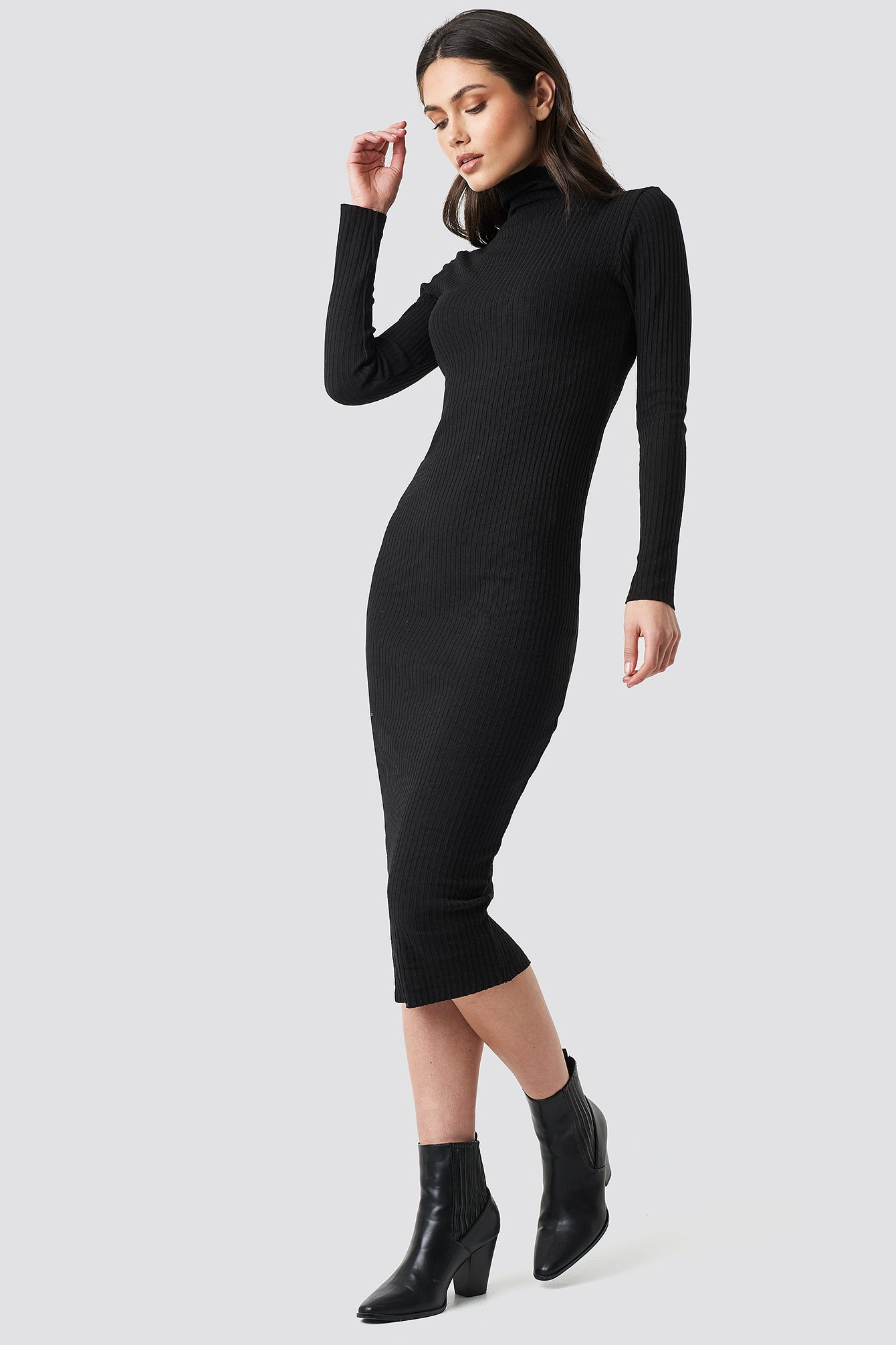 Ribbed Slim Dress NA-KD.COM