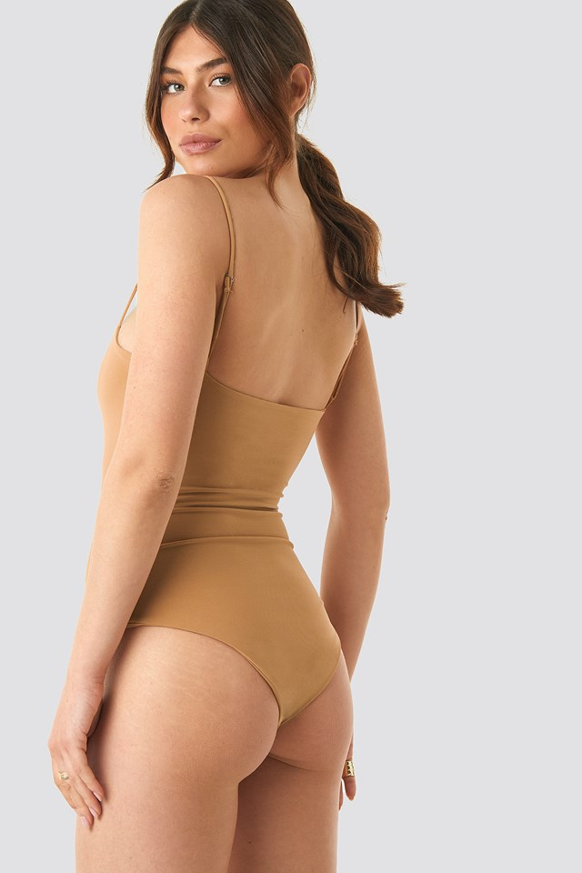 Thin Strap Bodysuit Camel