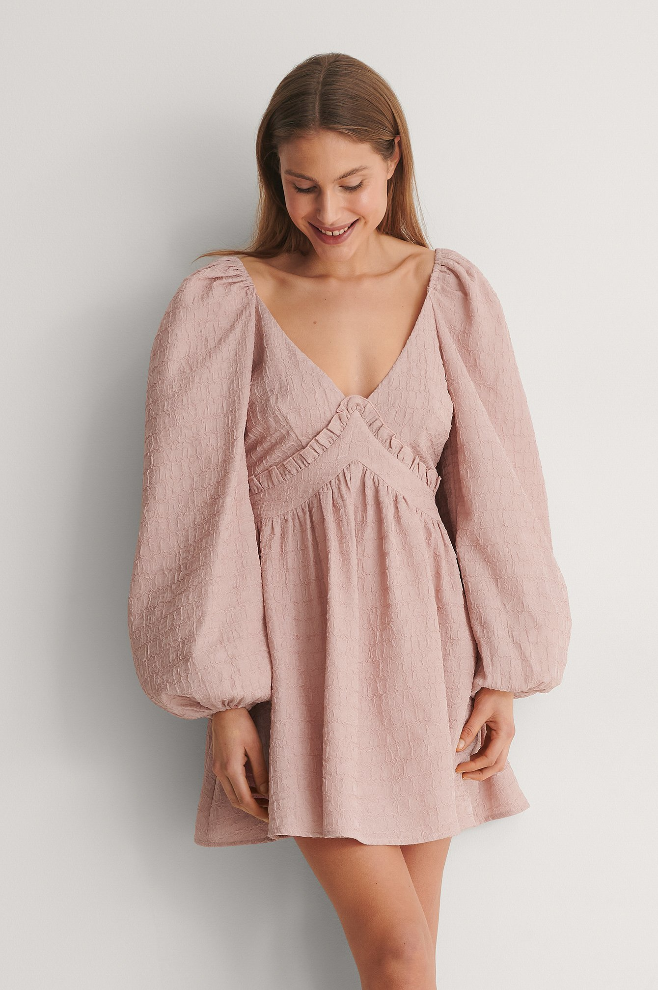 Pink Puff Sleeve Detail Dress