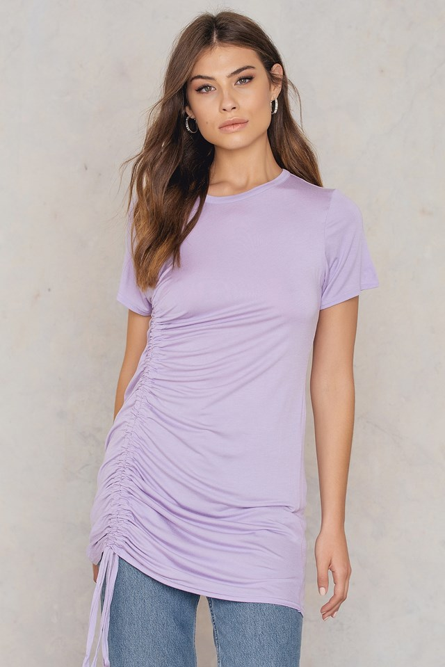 Rouched Side T-Shirt Dress Lilas