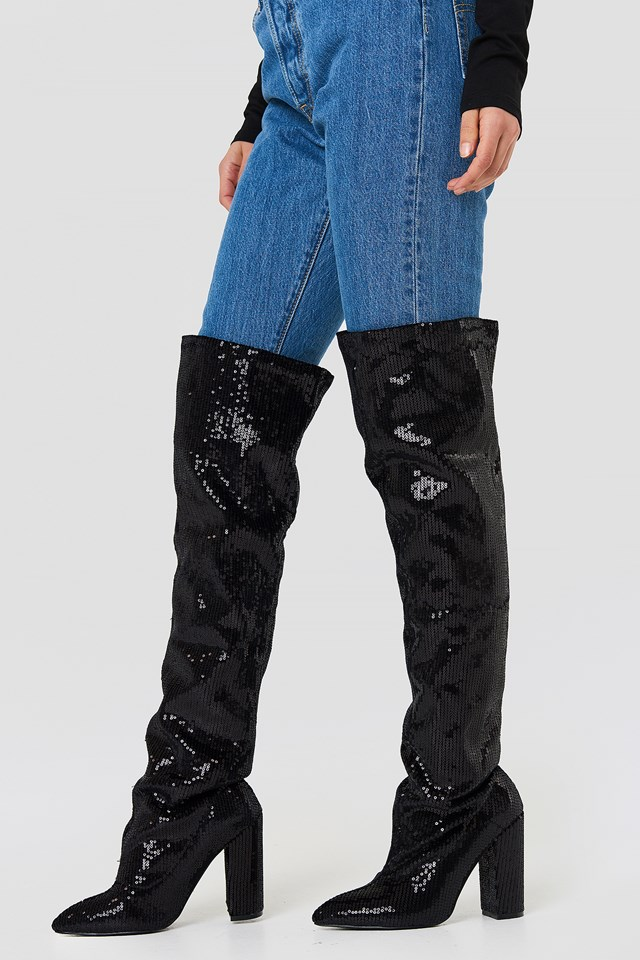 All Over Sequin Knee Boot Boohoo