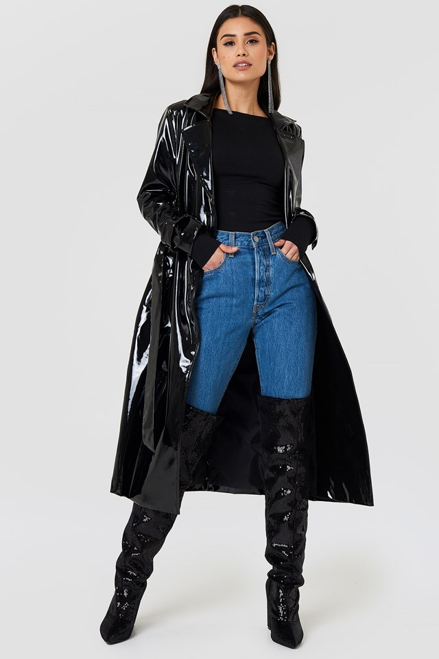 All Over Sequin Knee Boot Black