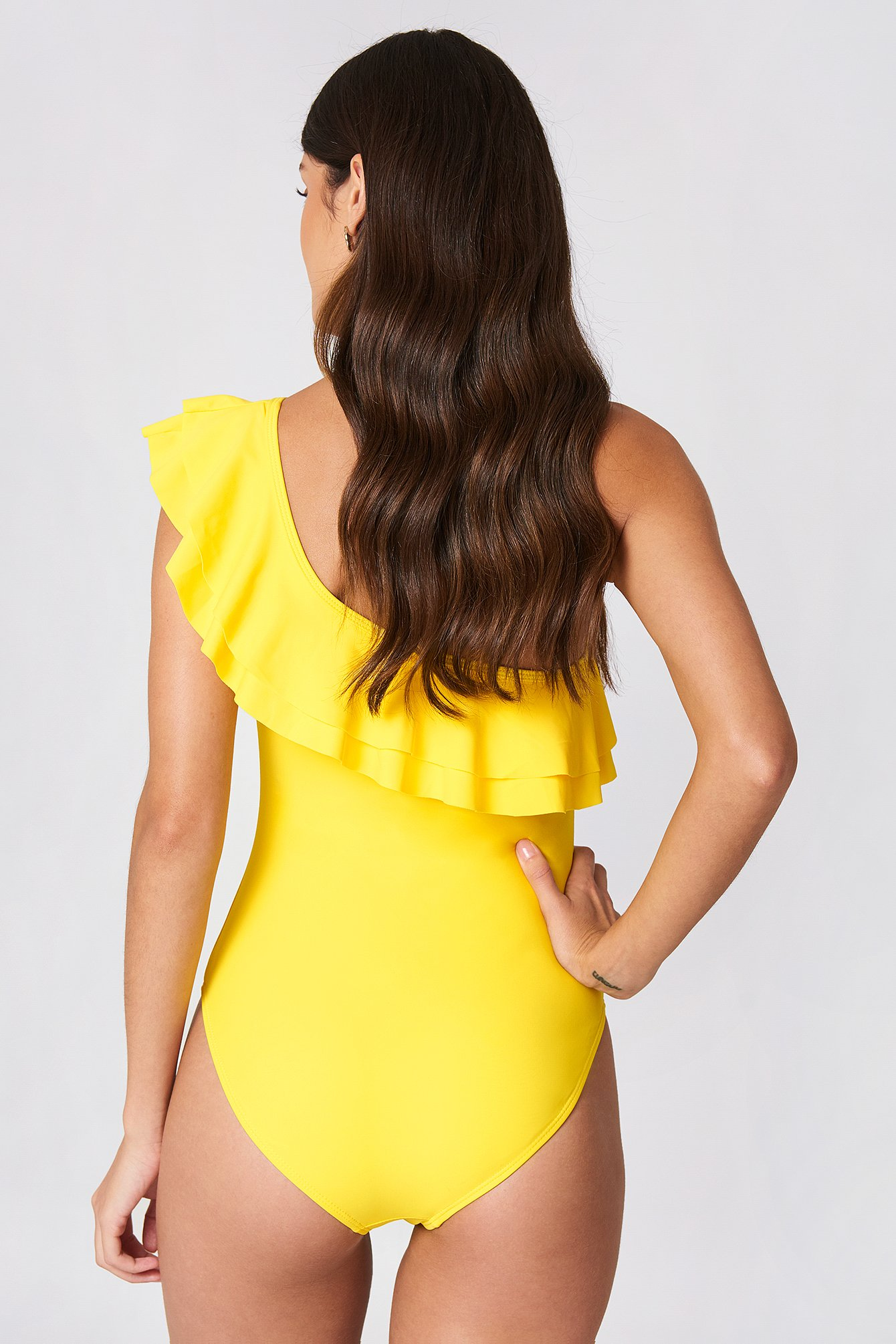 Bali One Shoulder Frill Swimsuit NA-KD.COM
