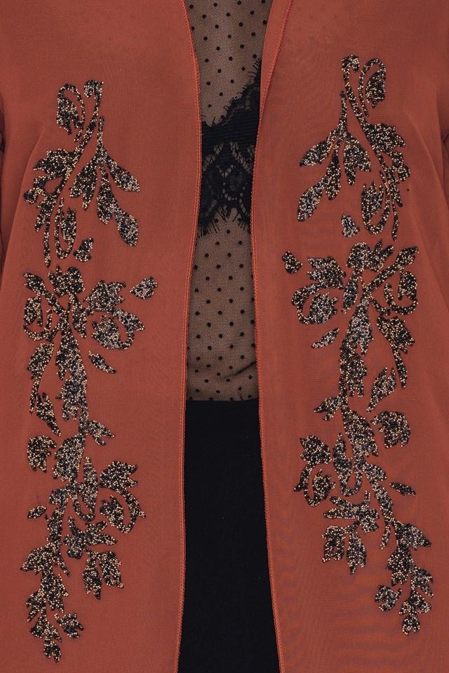 Beaded Chiffon Kimono Rust