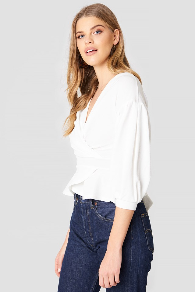 Bell Sleeve Wrapover Top White