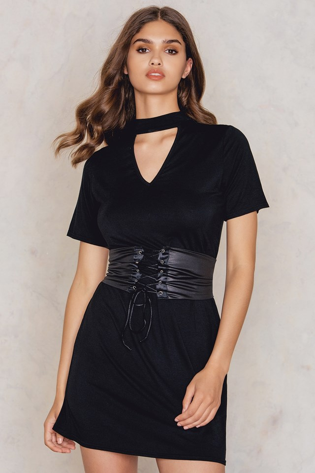 Choker Corset T-Shirt Dress Black
