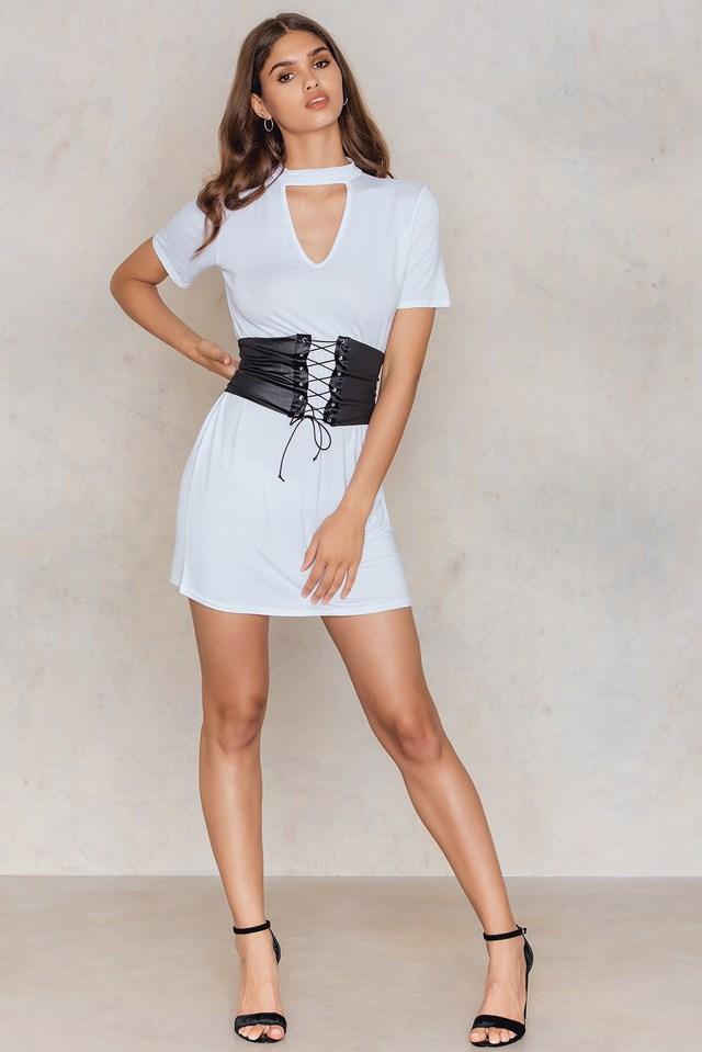 Choker Corset T-Shirt Dress White