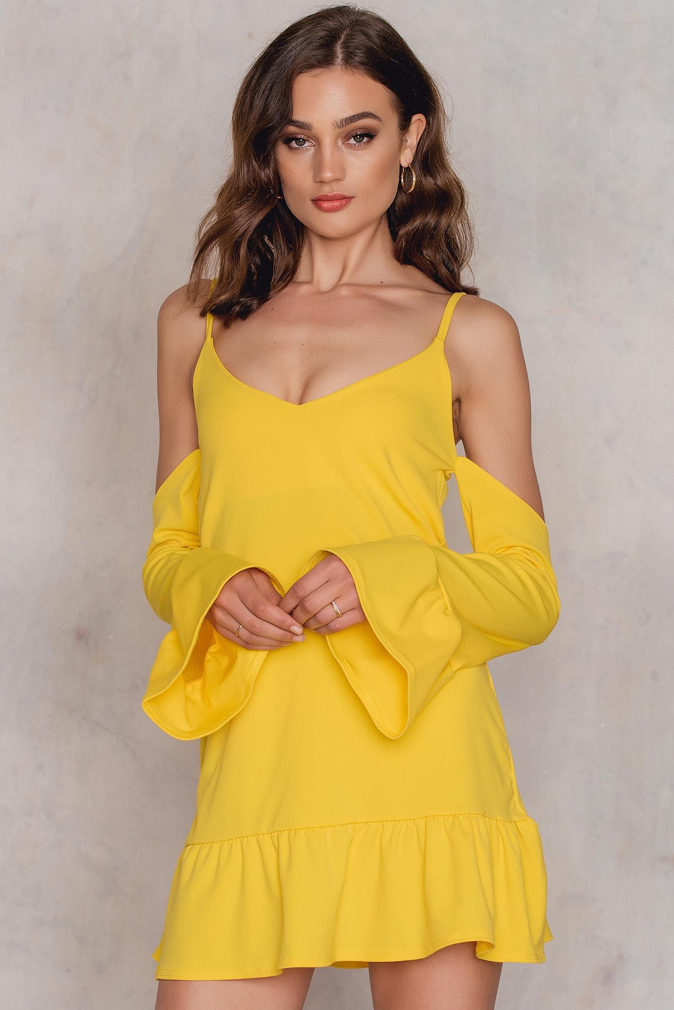 BOOHOO | Boohoo Cold Shoulder Dress - Yellow | Goxip