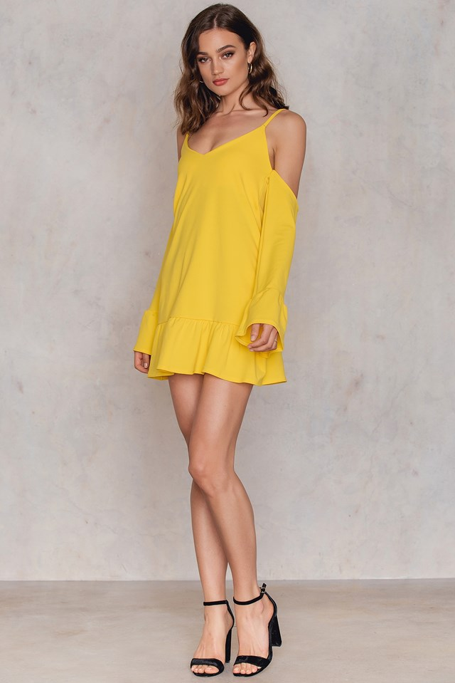 Cold Shoulder Dress Yellow