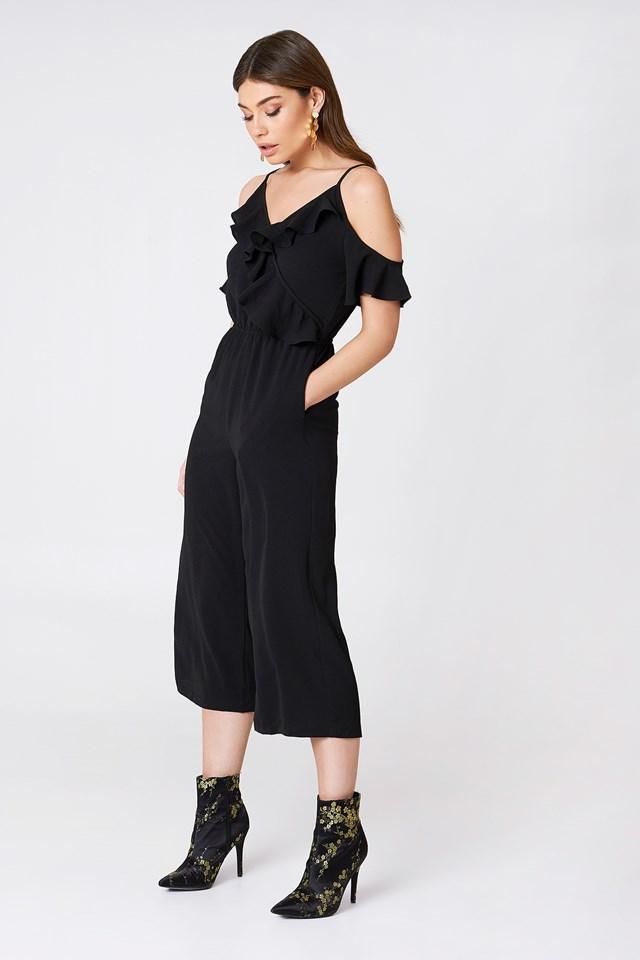 Cold Shoulder Ruffle Culotte Jumpsuit Black