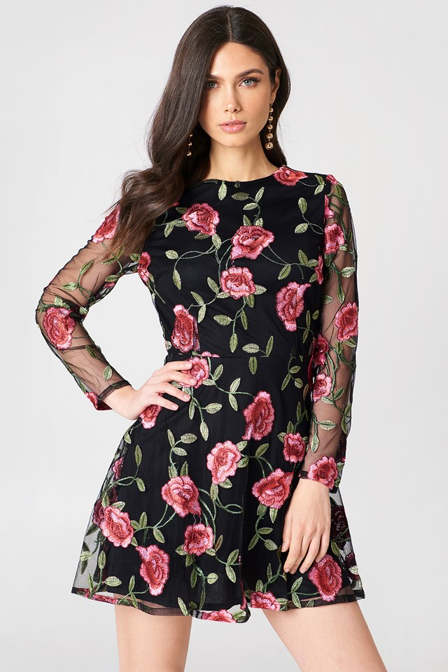 Embroidered Long Sleeve Dress Black