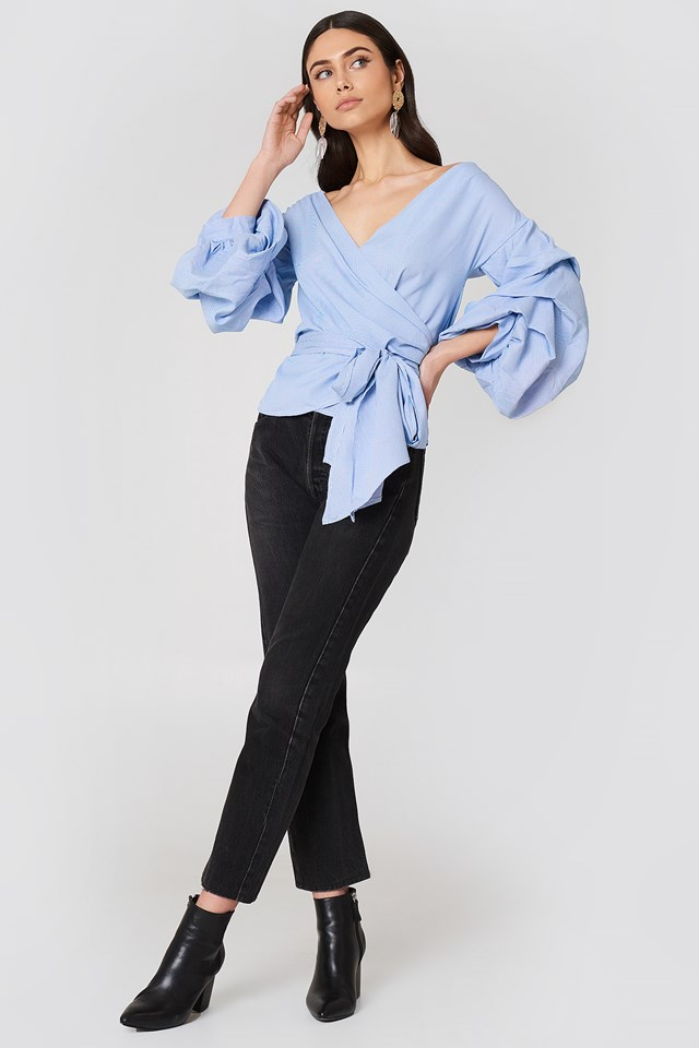 Exaggerated Sleeve Blouse Multi
