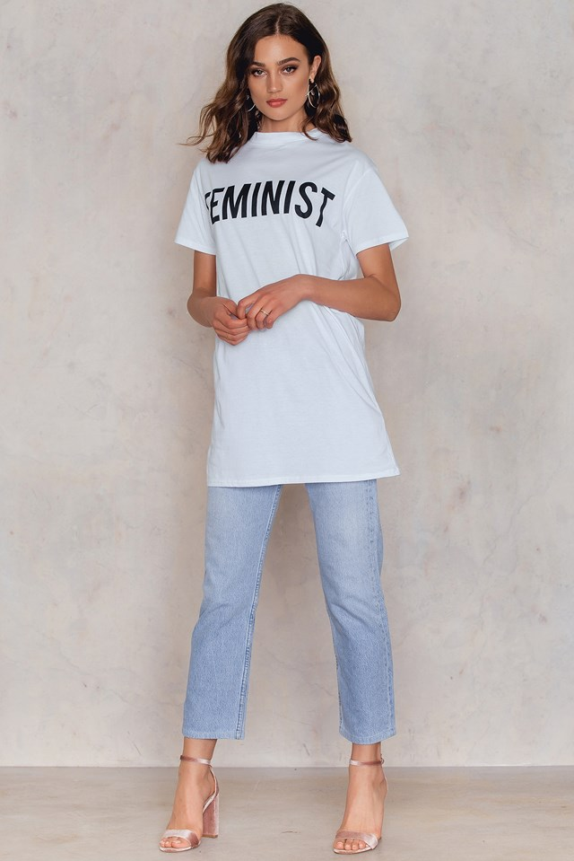 Feminist T-Shirt Dress White