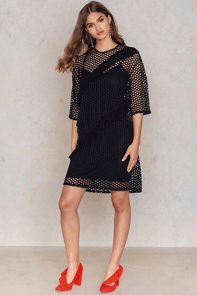 Fishnet T-Shirt Dress Black