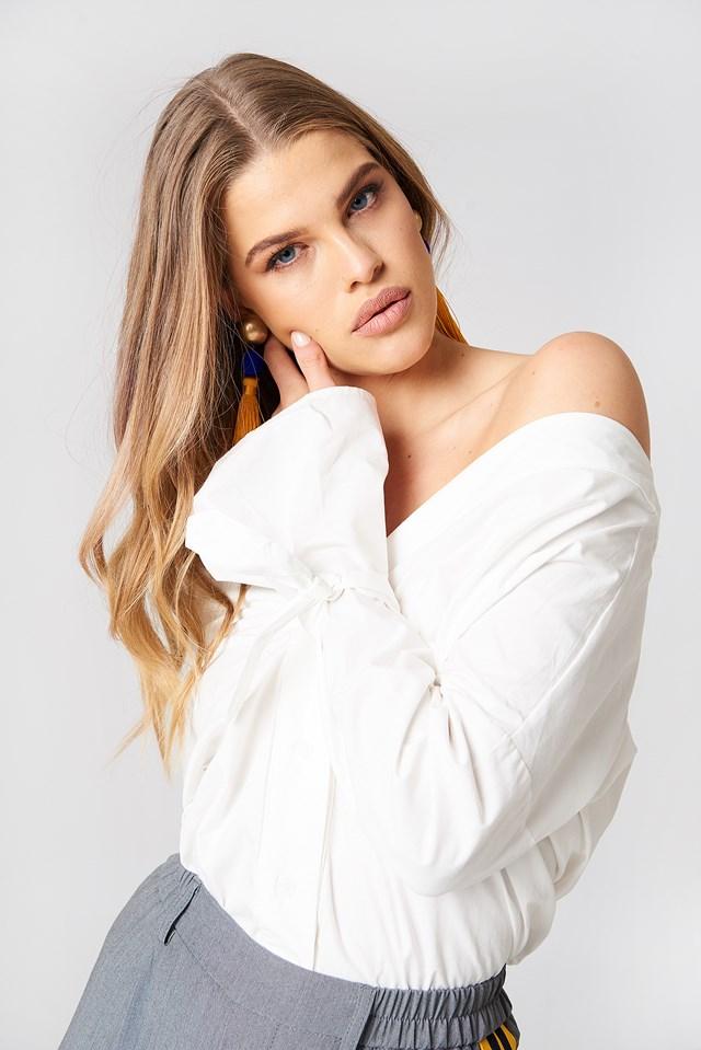 Flute Sleeve Shirt White