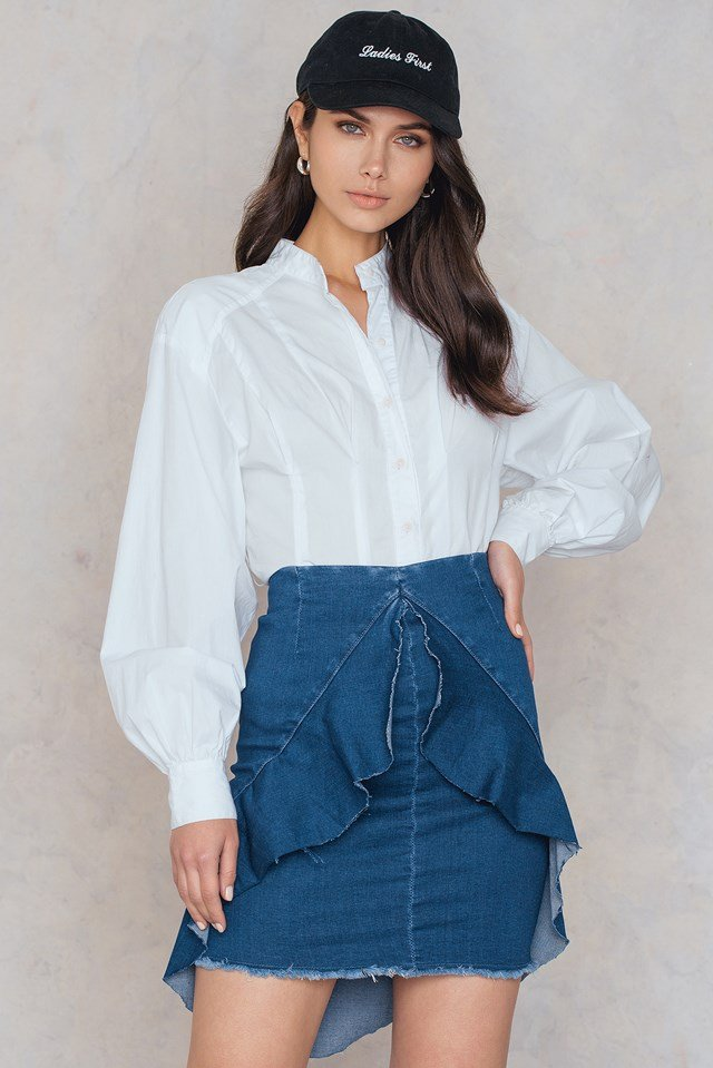 Frill Front Denim Skirt Mid Blue