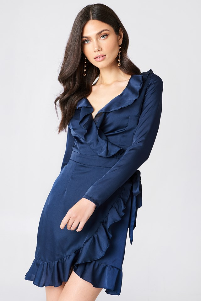 Frill Sleeved Dress Navy