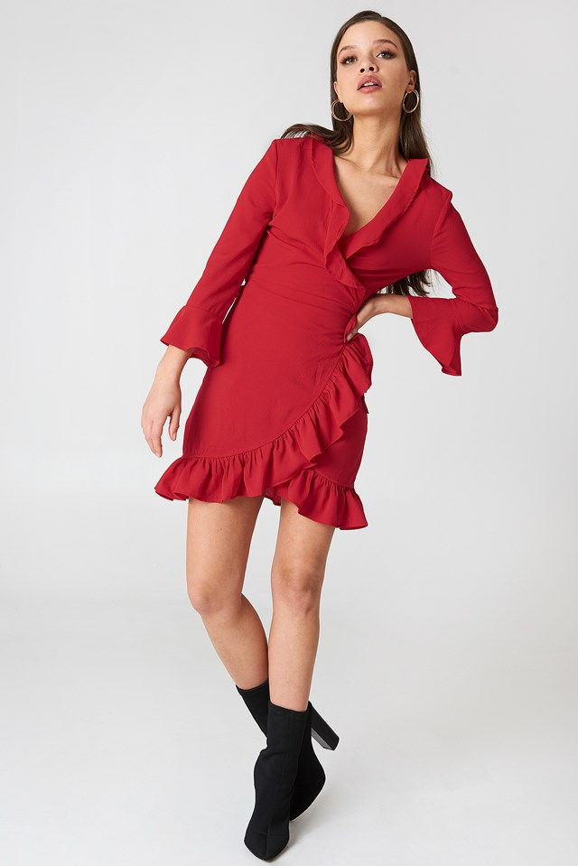 Frill Wrap Dress Red