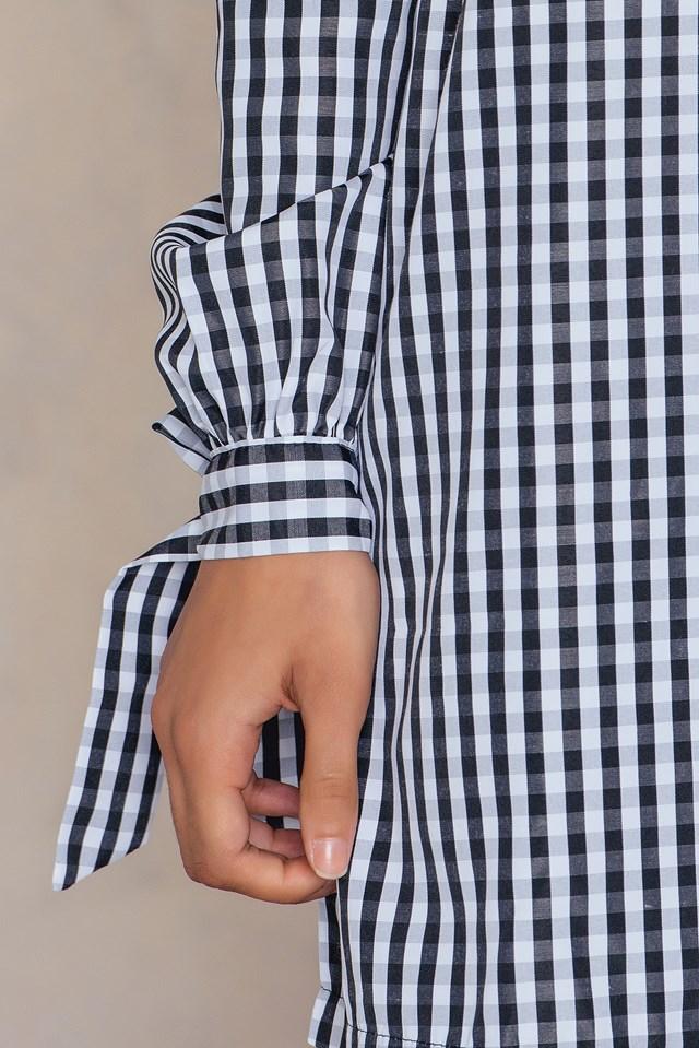 Gingham Off Shoulder Dress Black/White