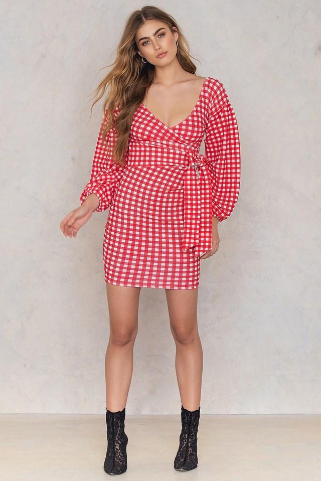 Gingham Ruffle Sleeve Dress Red/White