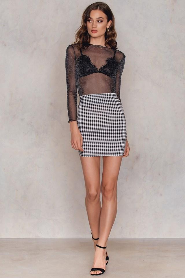 Gingham Basic Skirt Black/White