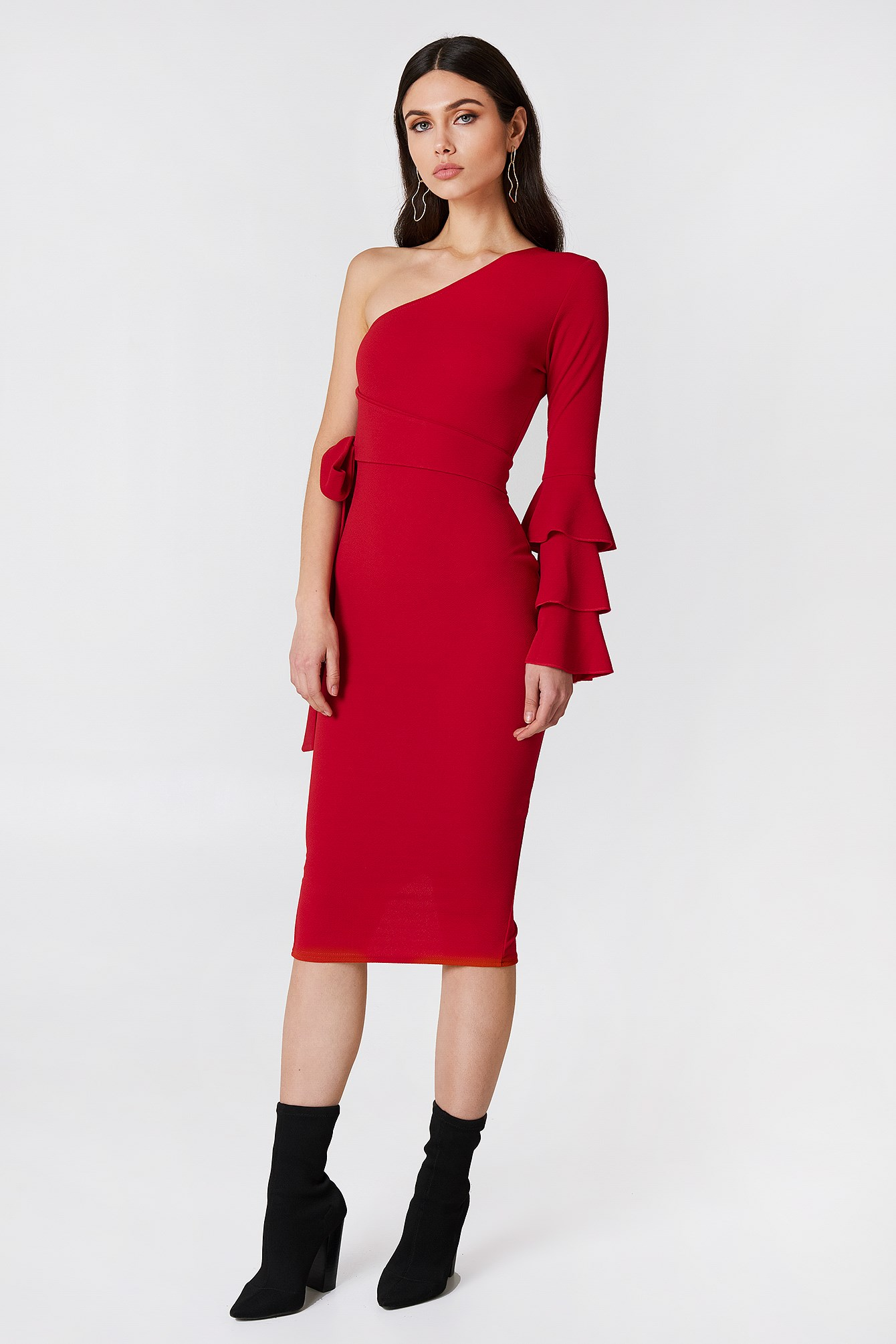 Izzy One Shoulder Frill Tie Dress NA-KD.COM