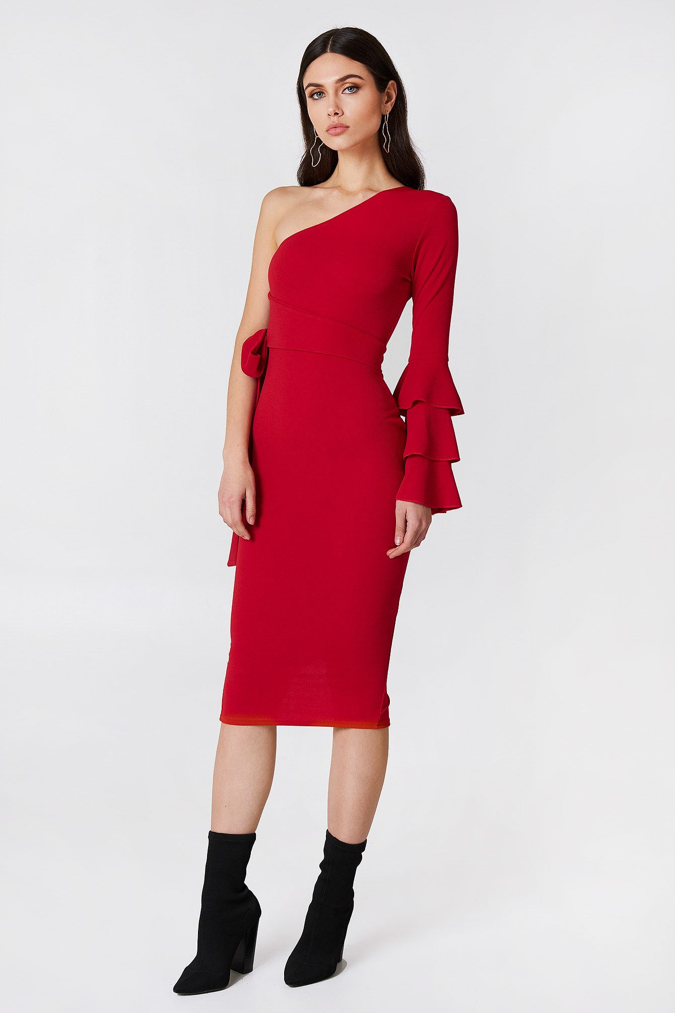 Izzy One Shoulder Frill Tie Dress