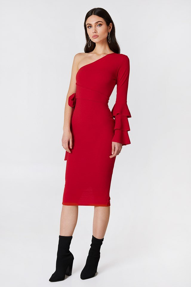 Izzy One Shoulder Frill Tie Dress Red