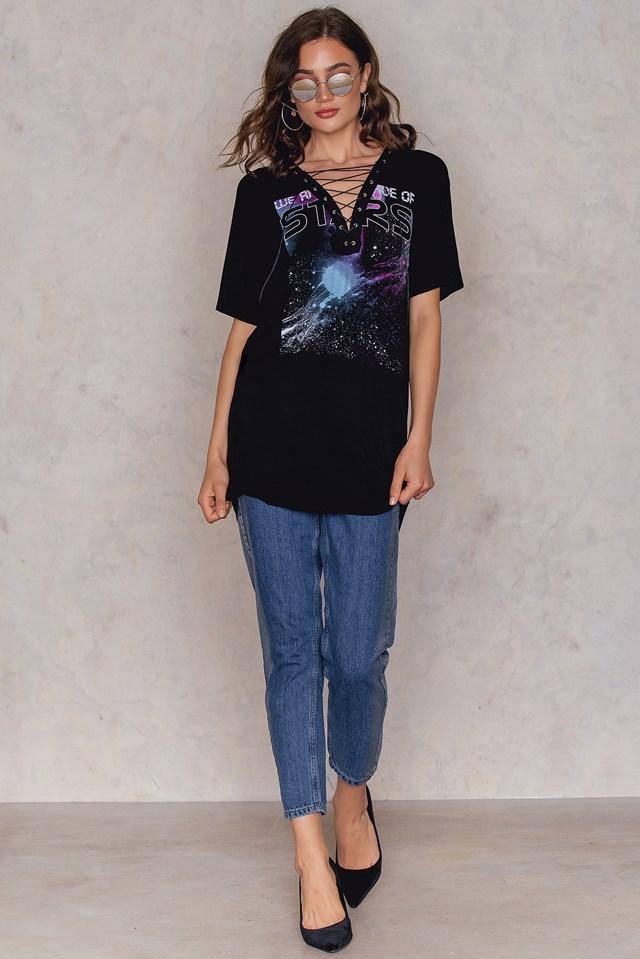 Lace Up Cosmic Tee Dress Black