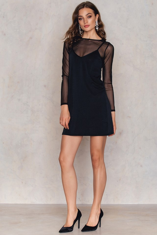 Mesh Slip Dress Black