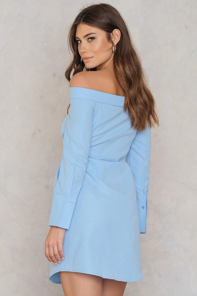 Off Shoulder Tie Front Shirt Dress Sky