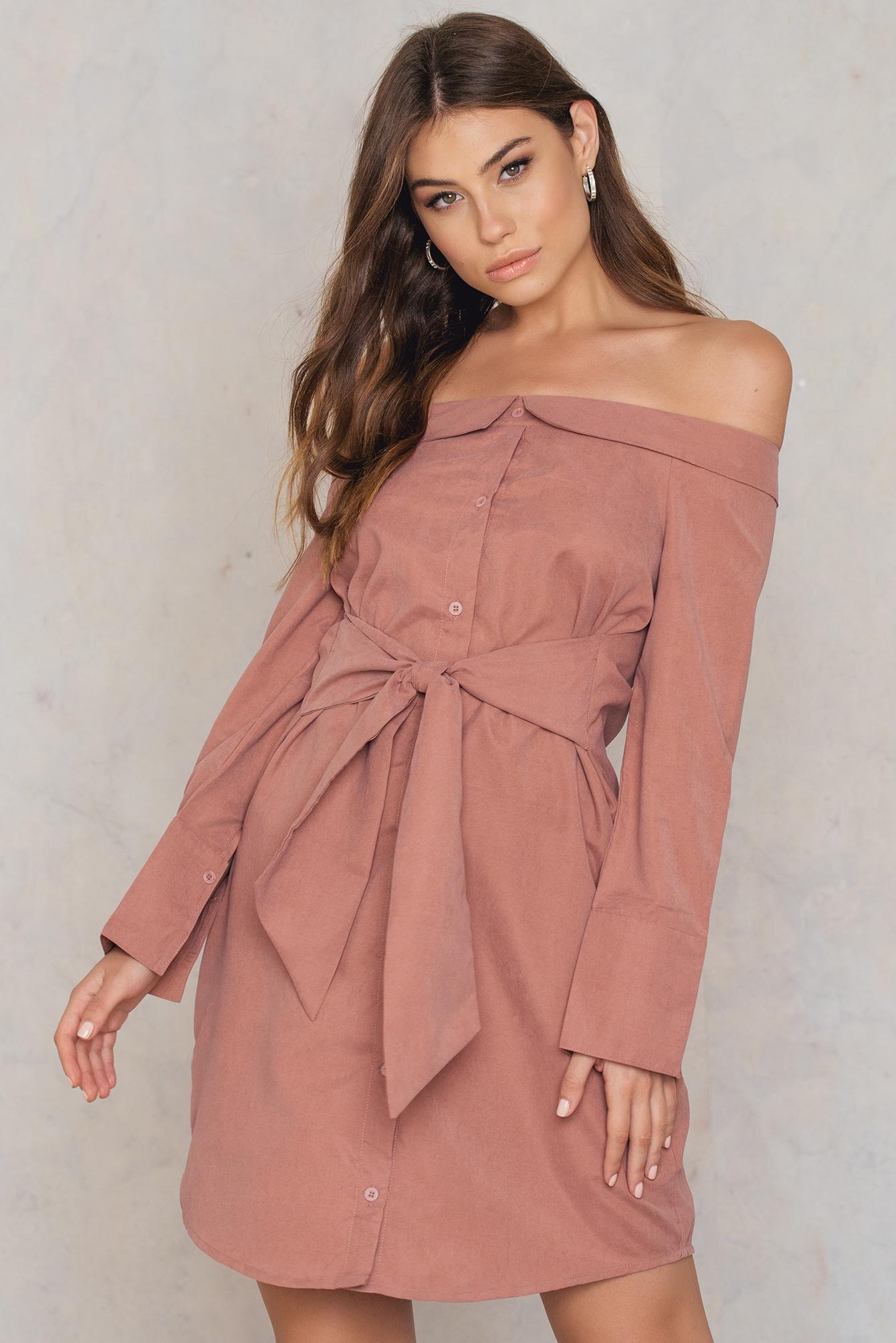 BOOHOO | Boohoo Off Shoulder Tie Front Shirt Dress - Brown, Pink | Goxip