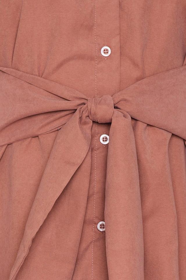 Off Shoulder Tie Front Shirt Dress Antique Rose
