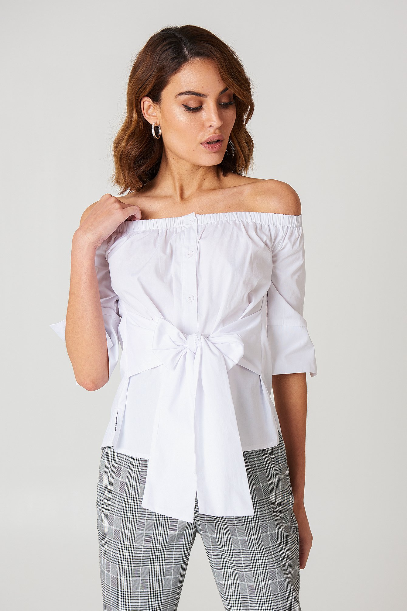 Off Shoulder Tie Waist Shirt NA-KD.COM