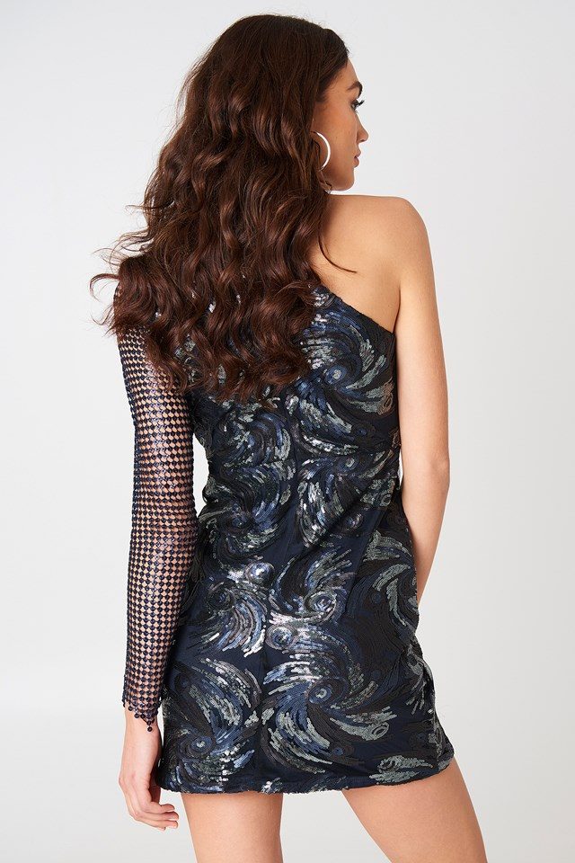 One Shoulder Sequin Dress Multi