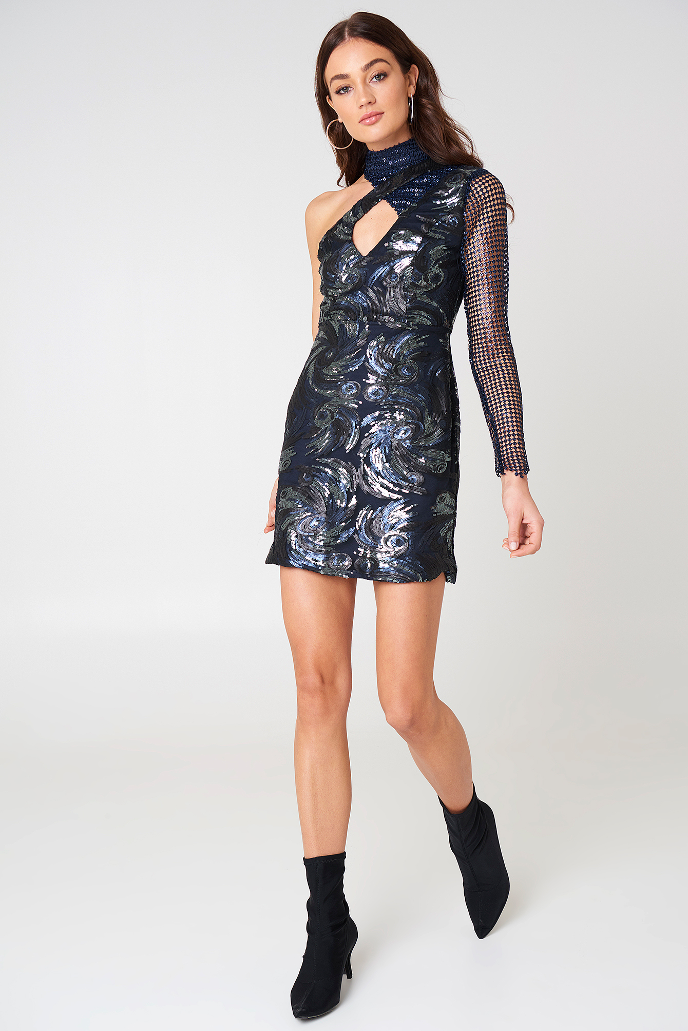 One Shoulder Sequin Dress NA-KD.COM