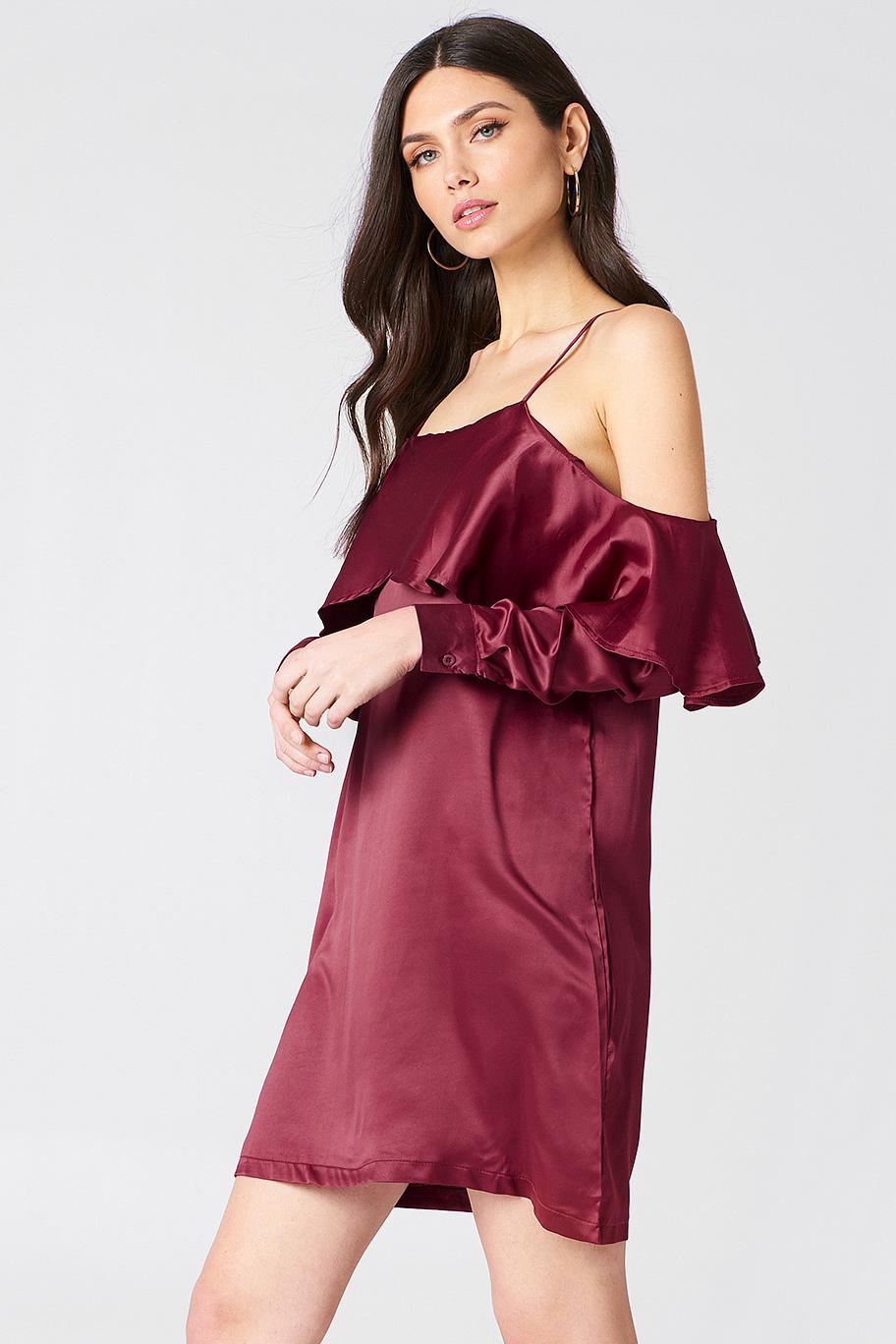 Open Shoulder Frill Dress NA-KD.COM