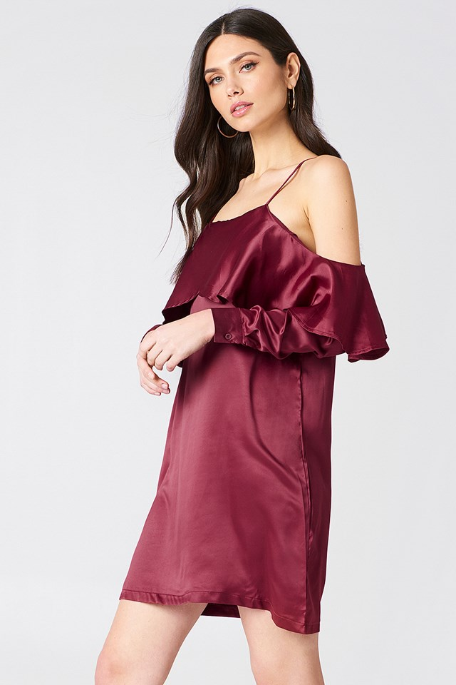 Open Shoulder Frill Dress Merlot