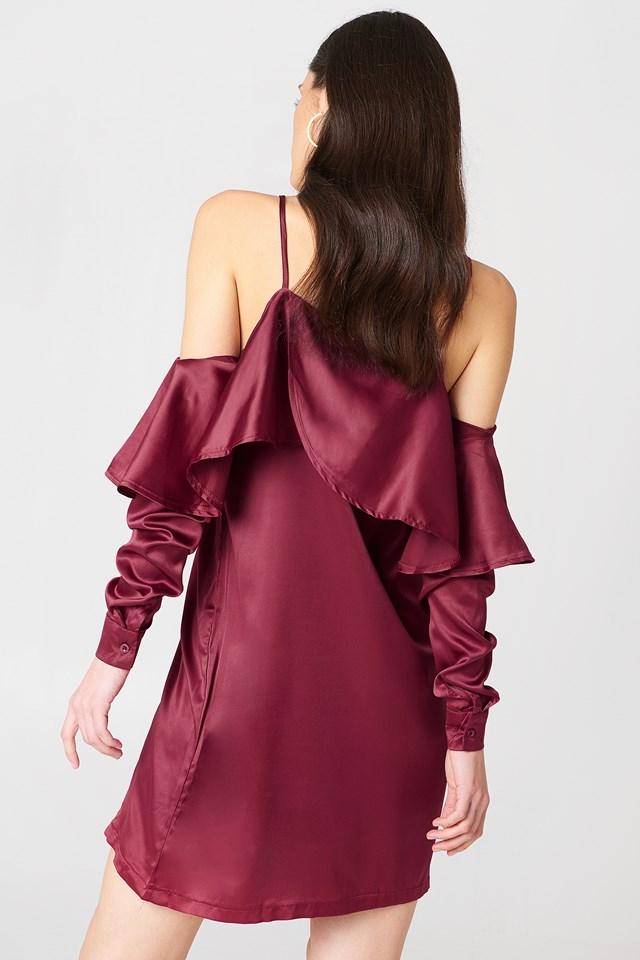 Open Shoulder Frill Dress Merlot